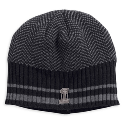 KNIT HAT-W/STRIPES,BLK